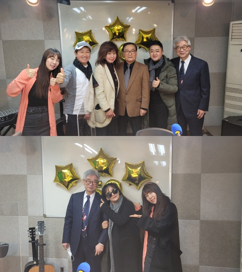 [스튜디오 앞] 현서, 김범룡, 보라, 진시몬, 임문일 (왼쪽부터) 나연주(아래)